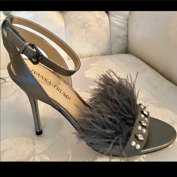 216df816a2e IVANKA TRUMP SUEDE/JEWELED OSTRICH FEATHER HEELS Boutique